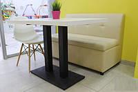 Стол  Роатан-BL белый  прямоугольный на хромированном каркасе, для бара, кафе, ресторана