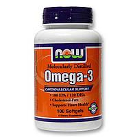 Рыбий жир, Омега Now Foods Omega-3, 100 softgels