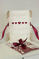 Приглашение на свадьбу в бордовом цвете