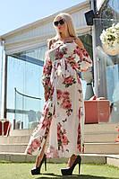 Платье в пол на пуговицах и брительках цветочный принт