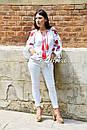Вышиванка лен блуза белая вышитая этно стиль, Bohemian, фото 3