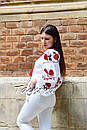Вышиванка лен блуза белая вышитая этно стиль, Bohemian, фото 4