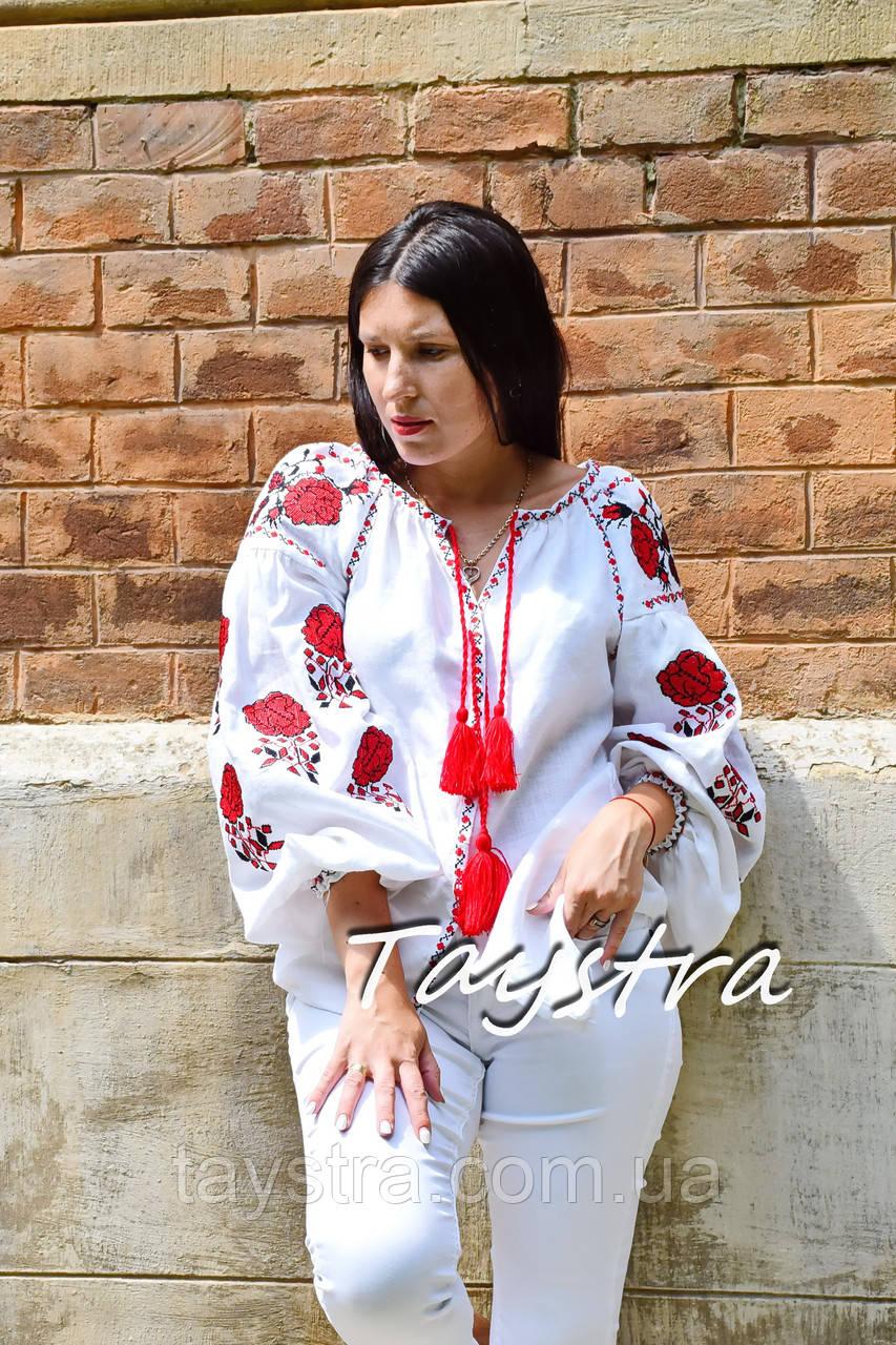 Вышиванка лен блуза белая вышитая этно стиль, Bohemian