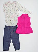 Детский комплект из 3-х вещей с жилетом Carters для девочки