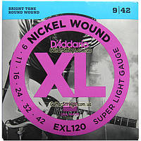 Струны D'Addario EXL120 Nickel Wound 9-42
