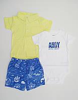 Летний костюм - футболка поло, боди и шортики Carters для мальчика