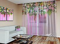 """ФотоТюль """"Розовые цветочные ламбрекены"""" (2,5м*7,5м, на длину карниза 5,0м)"""