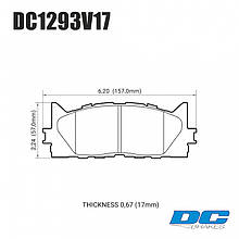 Колодки тормозные передние DC1293V17 DC brakes Street STR.S,  TOYOTA CAMRY 2007->