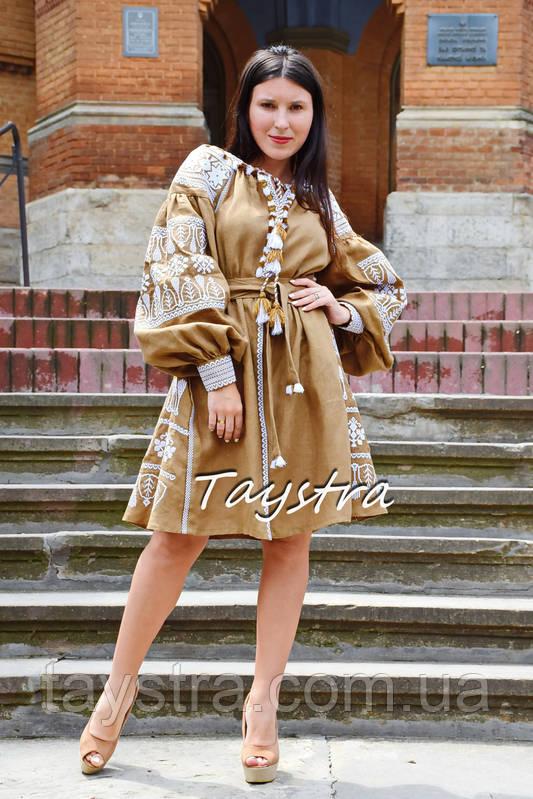 Вышитое платье лен, вишите плаття вишиванка, украинское платье с вышивкой