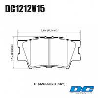 Колодки тормозные задние DC1212V15 DC brakes Street STR.S, TOYOTA CAMRY 2007-> / RAV 4 2005->, фото 1