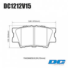 Колодки тормозные задние DC1212V15 DC brakes Street STR.S, TOYOTA CAMRY 2007-> / RAV 4 2005->