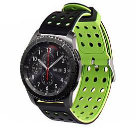 Подвійний ремінець з перфорацією для годин Samsung Gear S3 Classic SM-R770 / Frontier RM-760 Black&Green