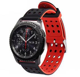 Подвійний ремінець з перфорацією Primo для годин Samsung Gear S3 ClassicSM-R770 / Frontier RM-760 Black&Red