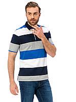 Белое мужское поло LC Waikiki / ЛС Вайкики в сине-серые полоски, фото 1