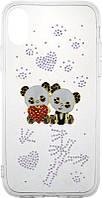 Чехол-накладка TOTO TPU case with stones iPhone X Panda Transparent, фото 1