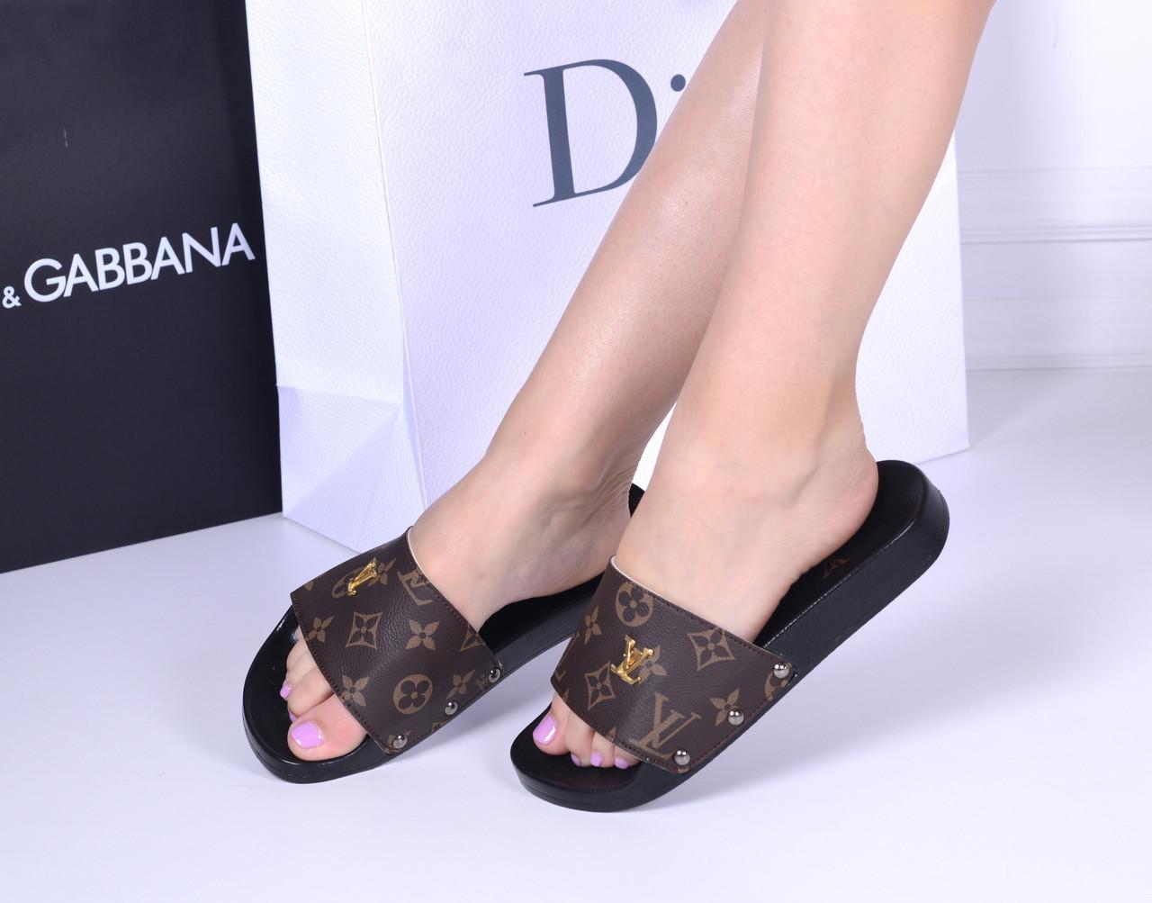 0eceed547 Женские шлепки LV из еко-кожи - Интернет-магазин Shopogolik (стильная женская  обувь
