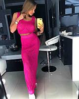 Летний костюм ажурной вязки юбка в пол+топ (разные цвета)