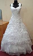 Необычное удобное белое свадебное платье, размер 42-46 (б/у)