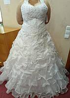 Необычное белое свадебное платье для пышной красоты, размер 48-54