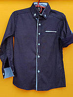 Рубашка подросток для мальчиков 6-11лет, темно-синяя