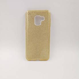 Чехол накладка для Samsung Galaxy A8 2018 A530 силиконовый, Remax Case 3 в 1 GLITTER Золотистый