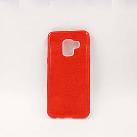 Чехол накладка для Samsung Galaxy A8 2018 A530 силиконовый, Remax Case 3 в 1 GLITTER Красный