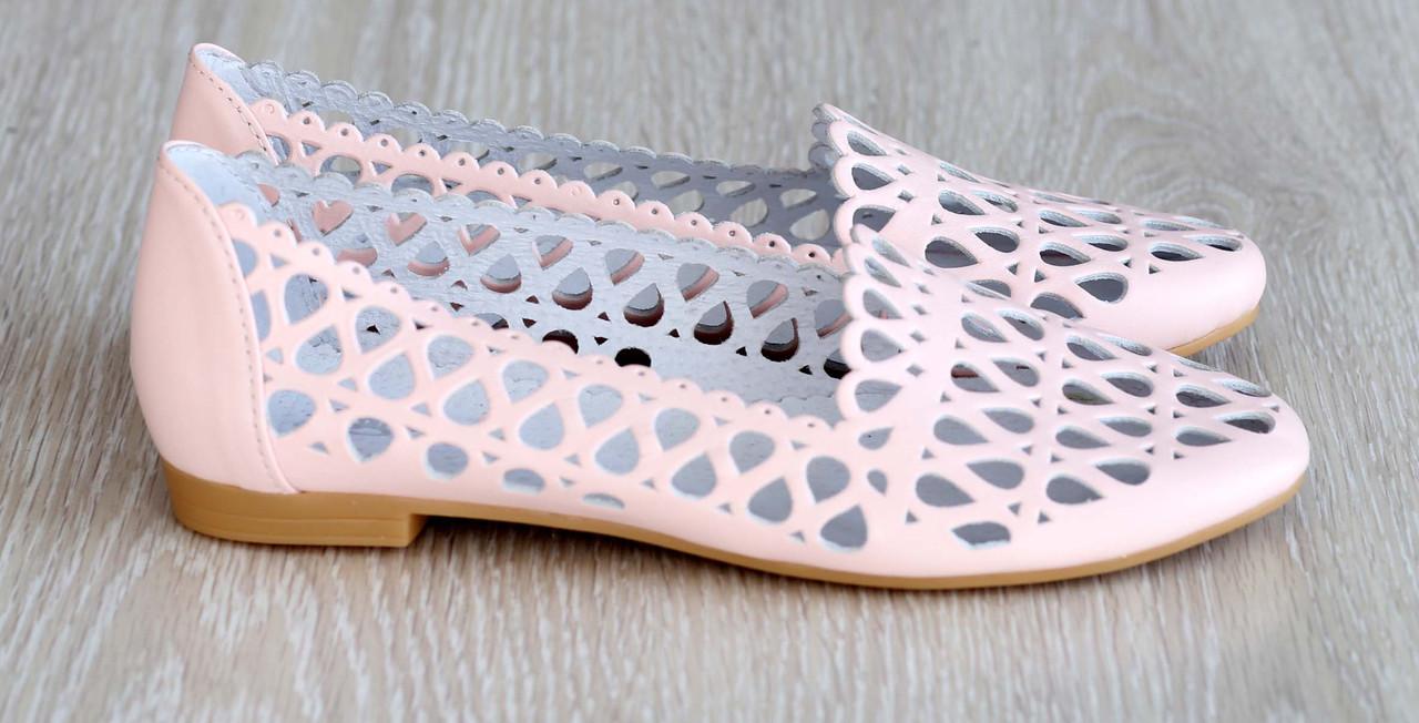 9bf880b42 Перфорированные кожаные балетки цвет пудра - интернет-магазин ALLEGRETTO в  Харькове