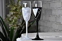 Бокалы свадебные белый и черный (2шт)