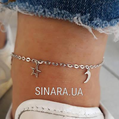 Срібний браслет на ногу з висульками - Браслет на ногу Срібло 925 різні штучки