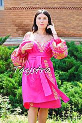 Платье халат с вышивкой вышиванка лен, этно, стиль бохо шик, вишите плаття вишиванка, платье халатного типа