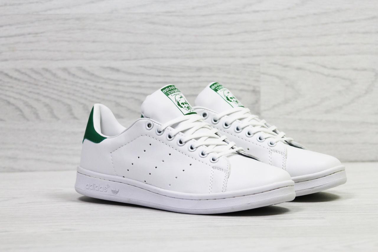 Кроссовки женскиеAdidas Stan Smith белые с зеленым