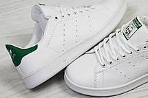 Кроссовки женскиеAdidas Stan Smith белые с зеленым, фото 3