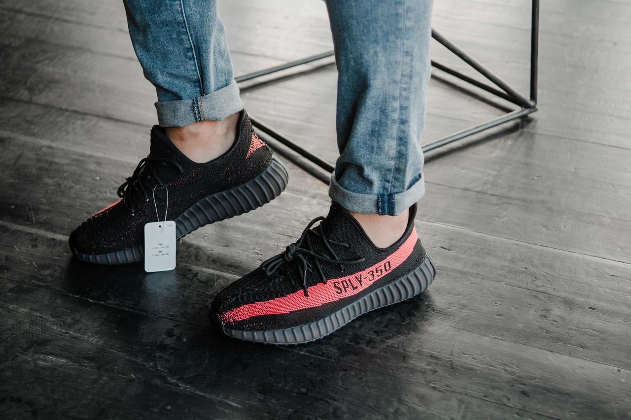 8731e6f6 Кроссовки мужские черные летние тканевые Adidas Yeezy Boost 350 V2 Black  Адидас Изи Буст - Магазин