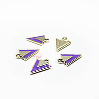 Металлическая подвеска с эмалью 19х14мм треугольник золото для рукоделия цвет фиолетовый