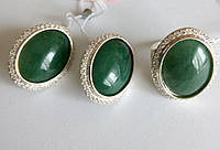 Комплект из серебра с зеленым камнем Нефрит