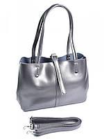 Женская кожаная сумка 1033G темно-серая, фото 1