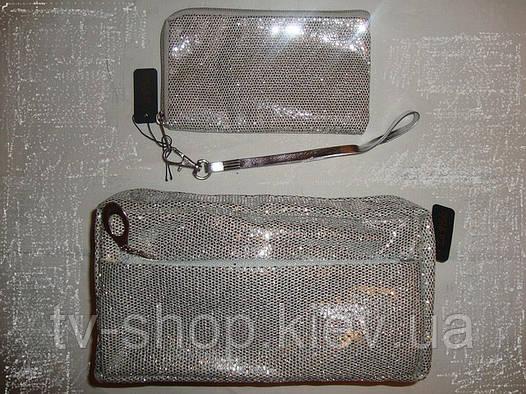 Набор косметичка+чехол для мобильного La Prida(серебро)