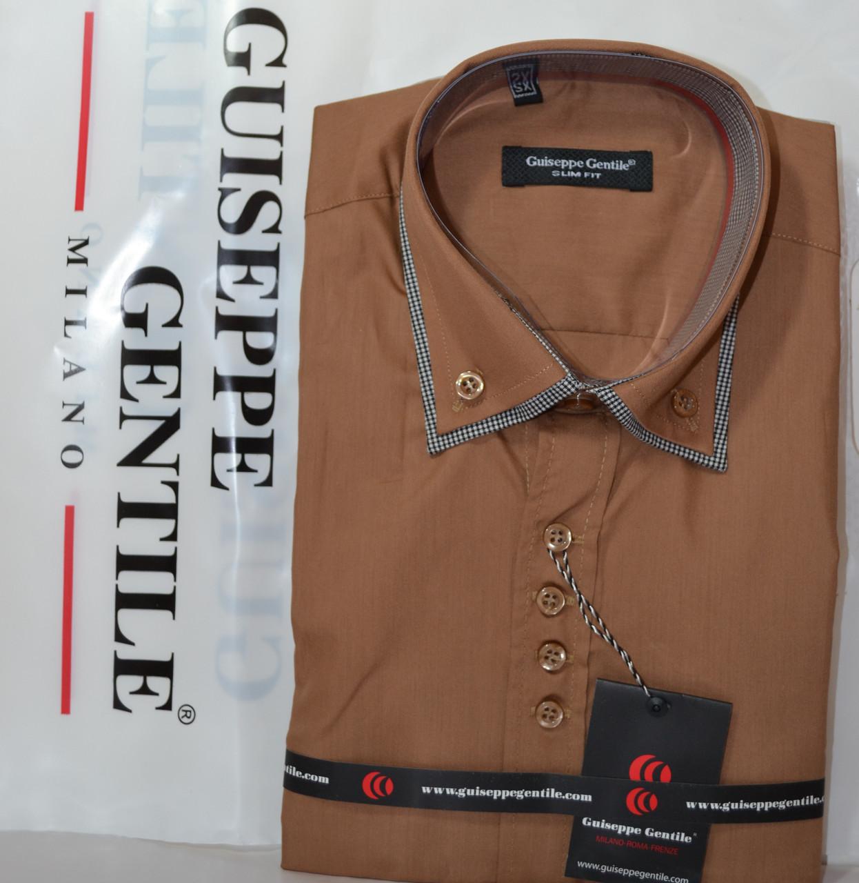 Приталені сорочка з коротким рукавом під запонку Guiseppe Gentile (розміри XS.S.M.L.XL.XXL)