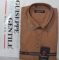 Приталені сорочка з коротким рукавом під запонку Guiseppe Gentile (розміри XS.S.M.L.XL.XXL), фото 1