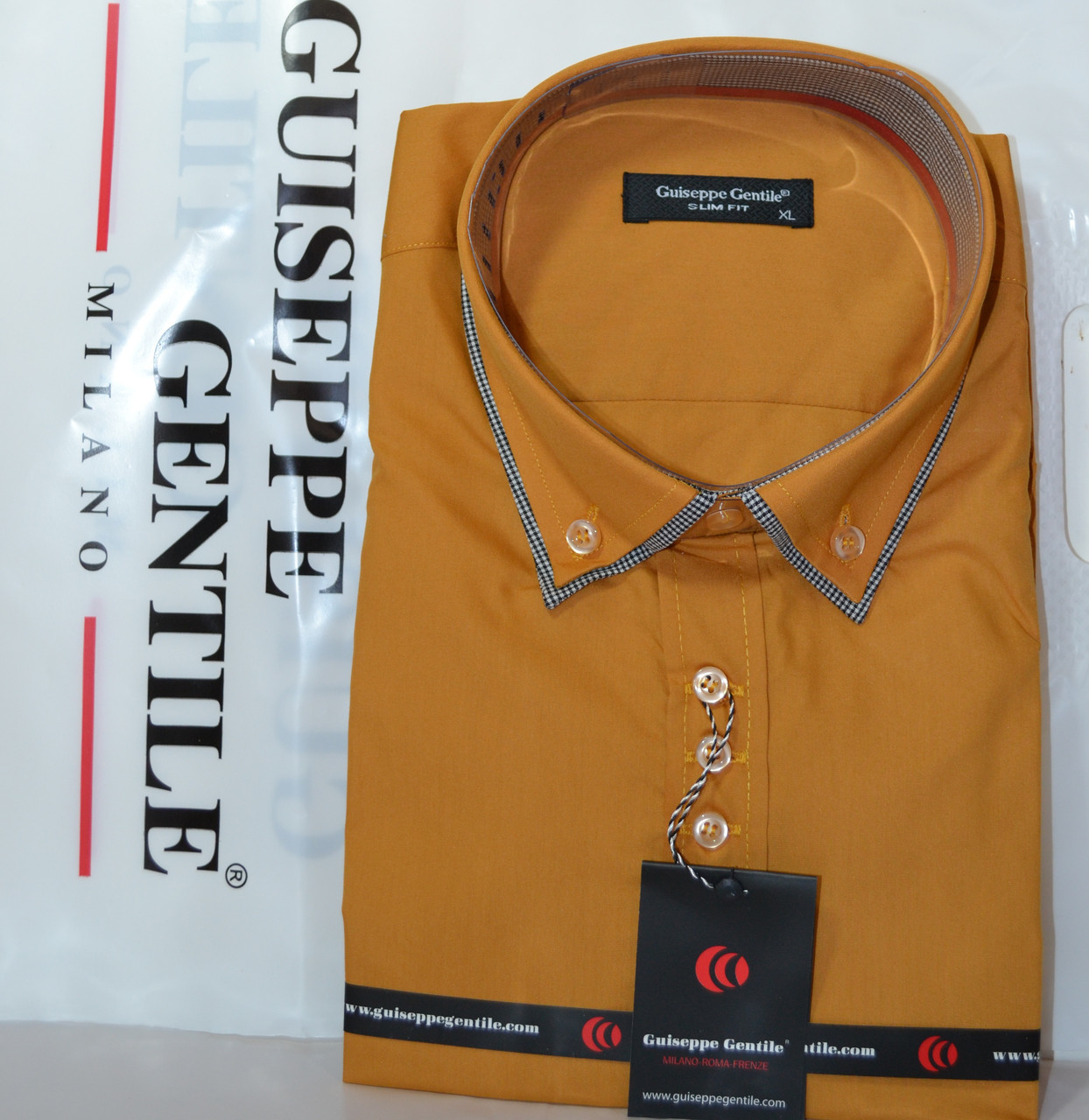Приталенная рубашка с коротким рукавом под запонку Guiseppe Gentile (размеры XS.S.M.L.XL.XXL)