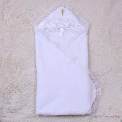 Тёплая Крыжма для крестин Бантик (белая)
