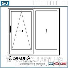 Комплект фурнитуры GU 966/150 mZ (850x2370). Цвет - белый. Ручка - односторонняя