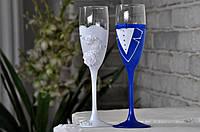 Бокалы свадебные  (2шт) цвет синий и белый, фото 1