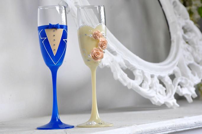 Свадебные  бокалы (2шт) синий и кремовый