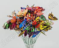 Бабочки на палочке для декора и флористики, 25 шт.