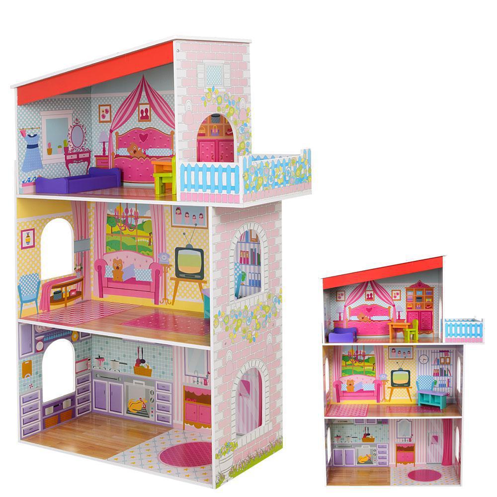 Деревянный кукольный домик с мебелью MD 1205 ***