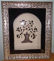 """Итальянская картина-панно """"Оливковое дерево"""" серебро"""