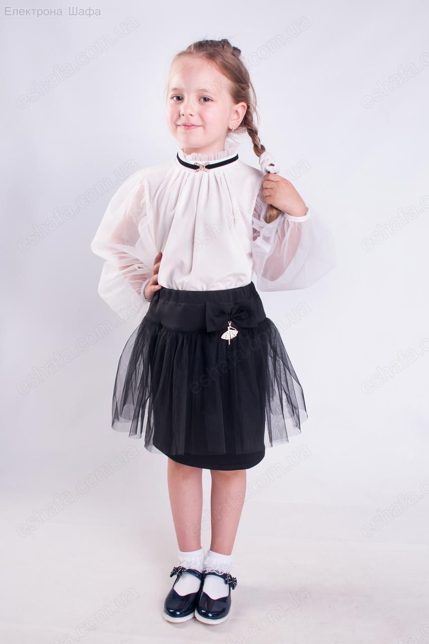 00ef0a9db42 Нарядная белая блузка для школьницы с фатиновыми рукавами 116-140рр ...