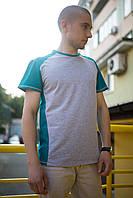 Серо-бирюзовая футболка