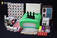 Набор для наращивания ногтей гелем  с фрезером и лампой  №15